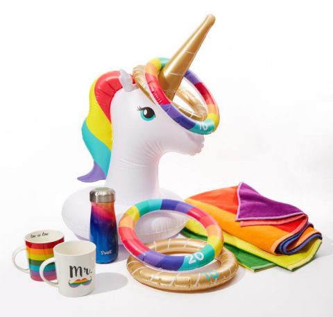 Macy's celebrates WorldPride and Stonewall 50 with its 10th annual national Pride + Joy campaign featuring special Pride-themed products and a partnership with The Trevor Project. Sunny Life, Pfaltzgraff, Martha Stewart Collection, S'well Pride merchandise (Photo: Business Wire)