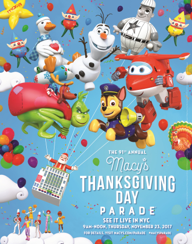 The world-famous Macy's Thanksgiving Day Parade® kicks off the Holiday Season with its 91st Spectacle of Wonder on Thursday, Nov. 23 at 9 a.m. ET. (Graphic: Business Wire)