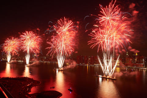 The 2018 Macy's 4th of July Fireworks, the nation's largest Independence Day celebration, will launch more than 75,000 shells and effects from seven barges on the East River in New York City. (Photo: Business Wire)