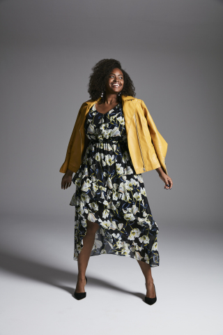 This fall, add edge to ethereal midi dresses and skirts with statement jackets in moto and athleisure styles. Get this look now, available in stores and online at macys.com. (Photo: Business Wire)