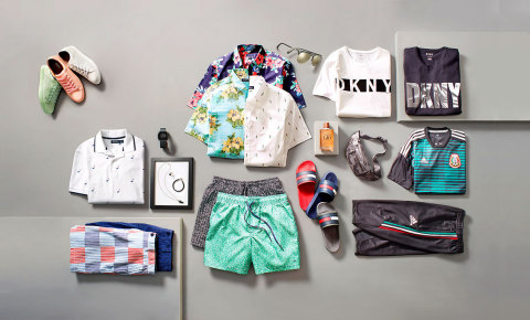 Give Dad the gift of high style with of-the-moment trends available at Macy's, including oversized logo-print shirts from DKNY, slide sandals from Tommy Hilfiger, fitted button-down shirts from Club Room, lace-up sneakers from Bar III, and jewelry created for Macy's by the fashion authorities at Esquire Magazine, plus so much more! (Photo: Business Wire)