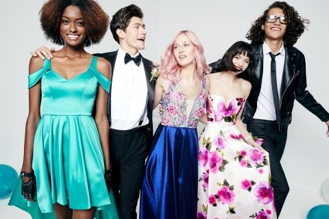 Make this prom unforgettable with Macy's incredible selection of fashion-forward gowns, accessories and beauty. Sequin Hearts high-low gown, $99; Say Yes to the Prom floral-embroidered gown, $169; City Studios printed ball gown, $139 (Photo: Business Wire)
