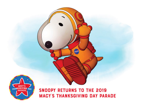 Snoopy Is Cleared for Take-off for the 93rd Annual Macy's Thanksgiving Day Parade? in Celebration of the 50th Anniversary of the Moon Landing and Future Space Missions (Graphic: Business Wire)