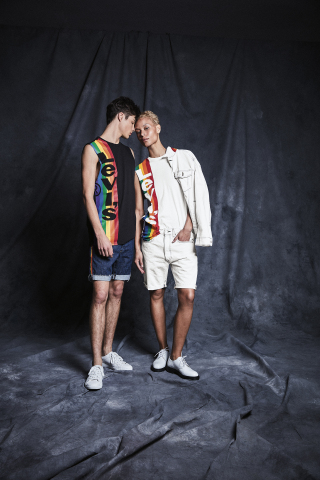 Macy's celebrates WorldPride and Stonewall 50 with its 10th annual national Pride + Joy campaign featuring special Pride-themed products and a partnership with The Trevor Project. Levi's Pride apparel (Photo: Business Wire)